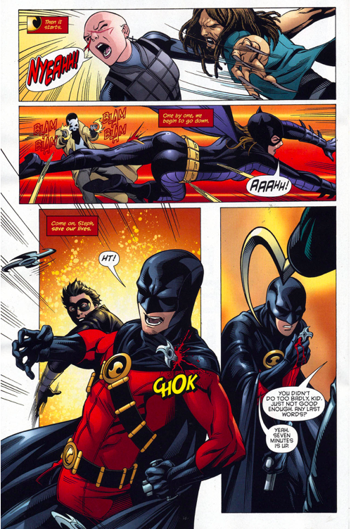 red robin and batgirl vs the 7 men of death