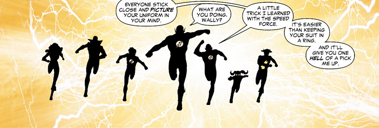 wally west's costume trick with the speed force