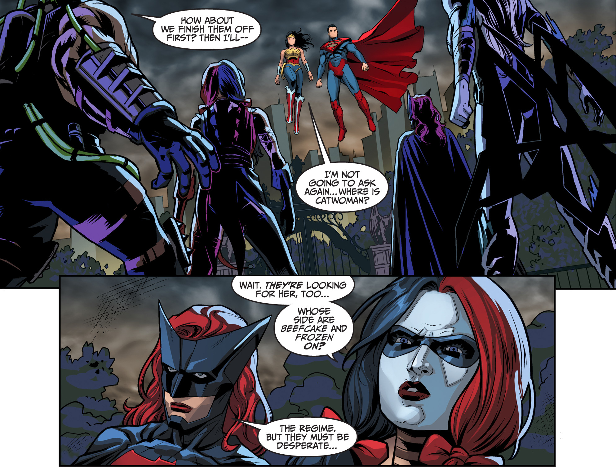 batwoman and harley quinn vs bane and killer frost vs superman and wonder woman