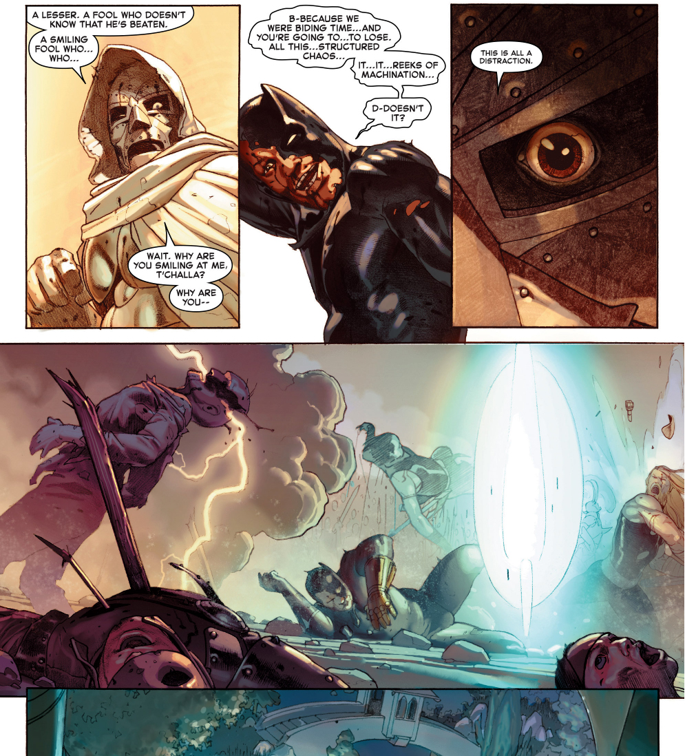 black panther and namor vs doctor doom (secret wars)