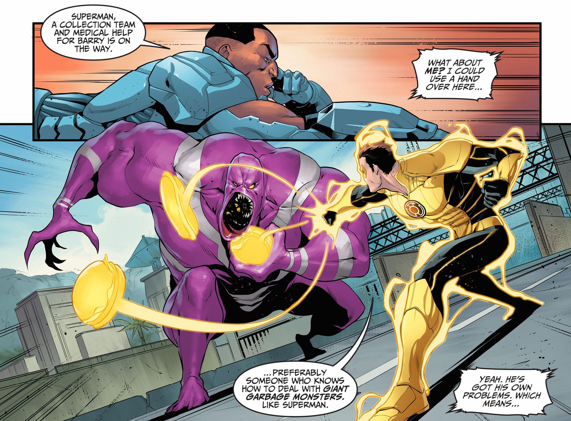 cyborg and yellow lantern (hal jordan) vs parasite