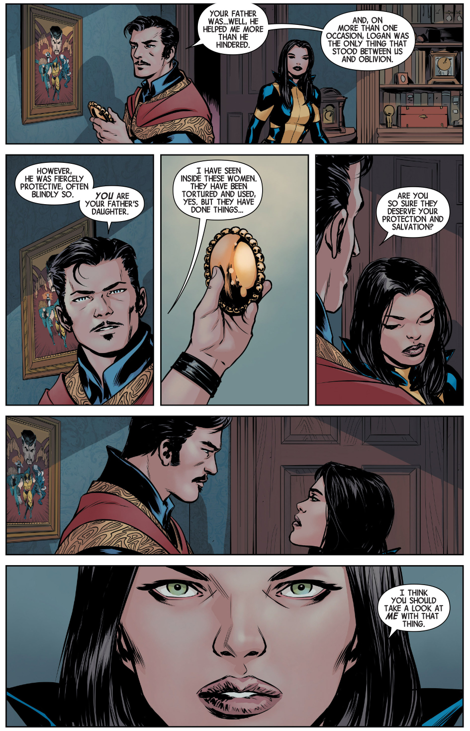 doctor strange scans wolverine with the eye of agamotto
