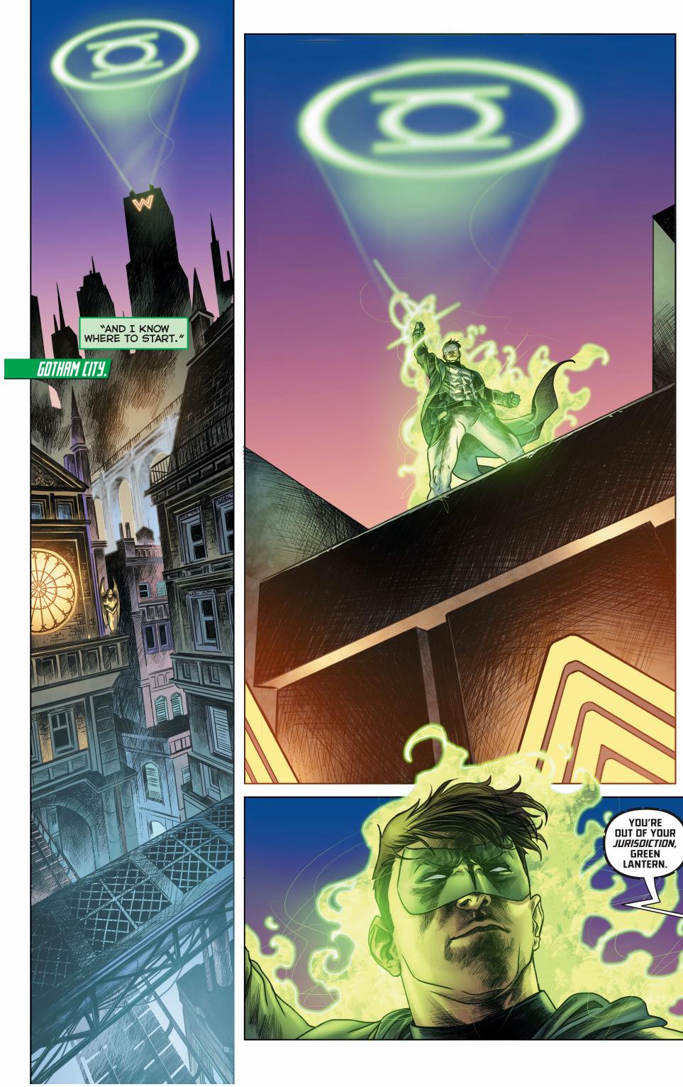 green lantern's (hal jordan) first meeting with batman (jim gordon)