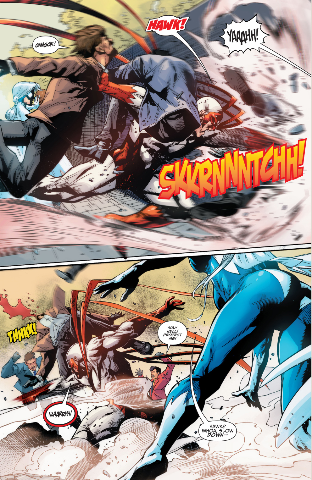 hawk and dove beating up on gangsters