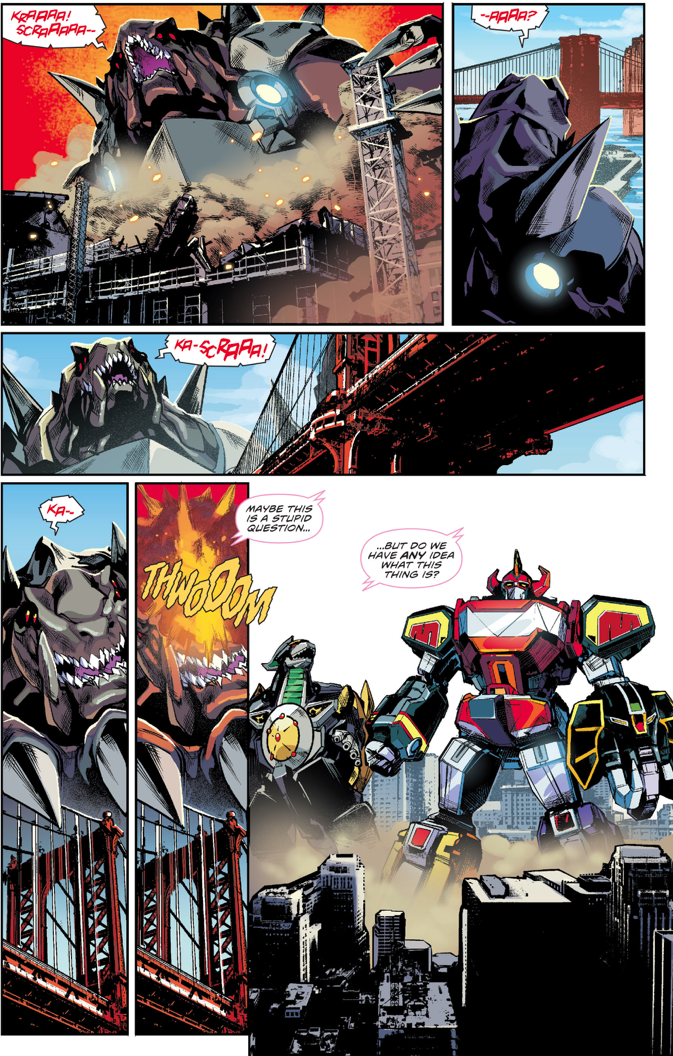 Megazord And Dragonzord In Action