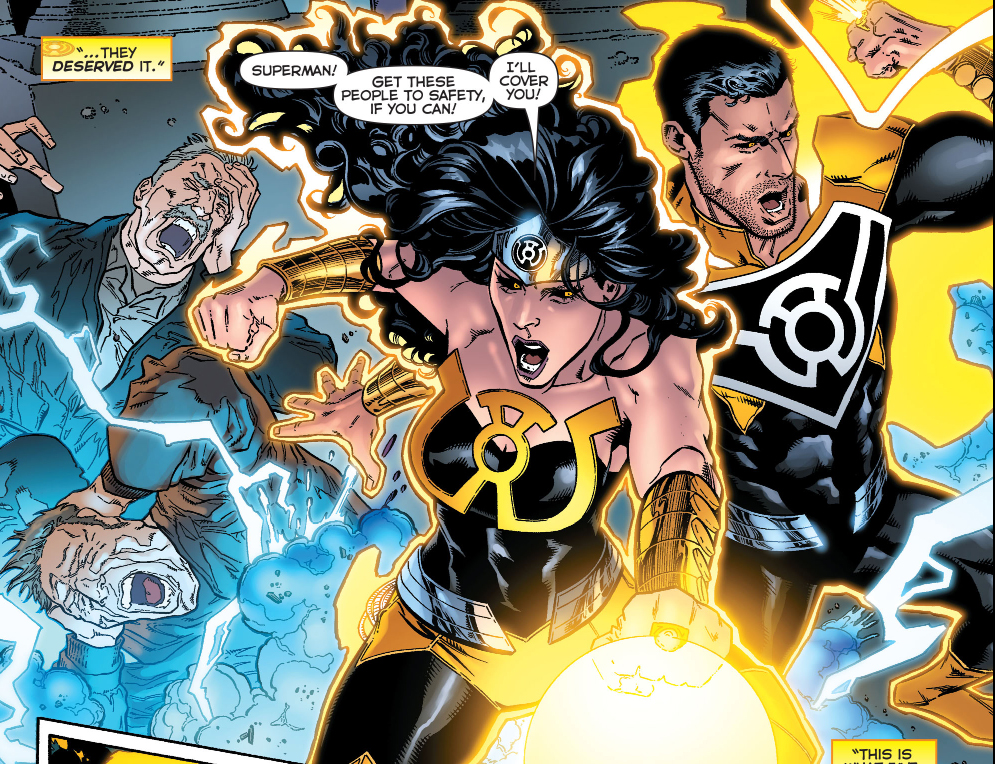 superman and wonder woman joins the sinestro corps