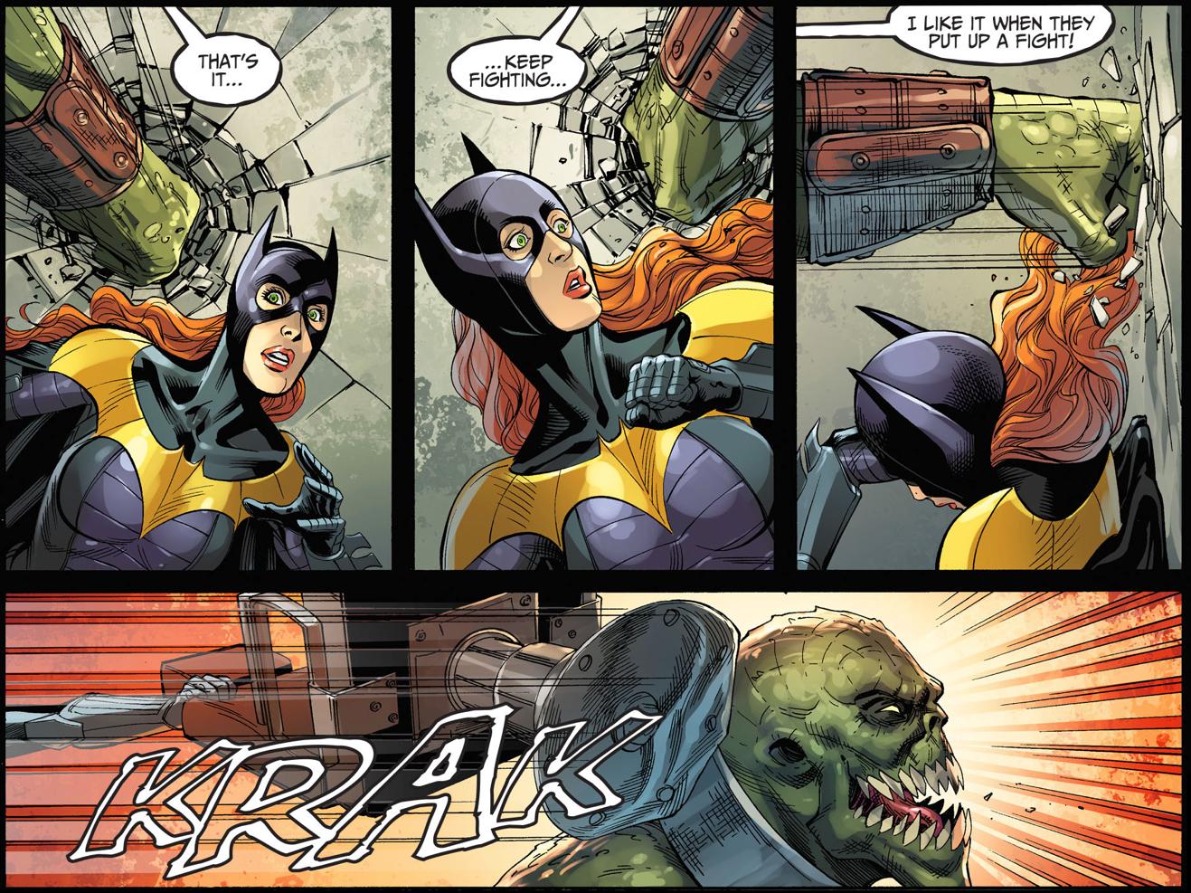 batgirl and catwoman vs killer croc (injustice gods among us)