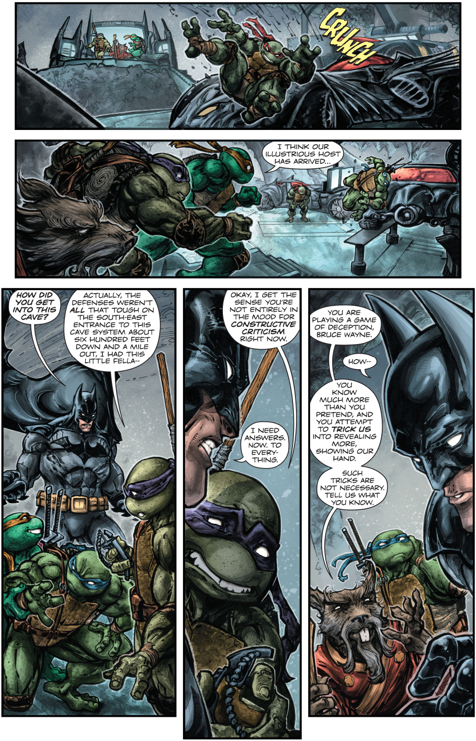 teenage mutant ninja turtles in the batcave