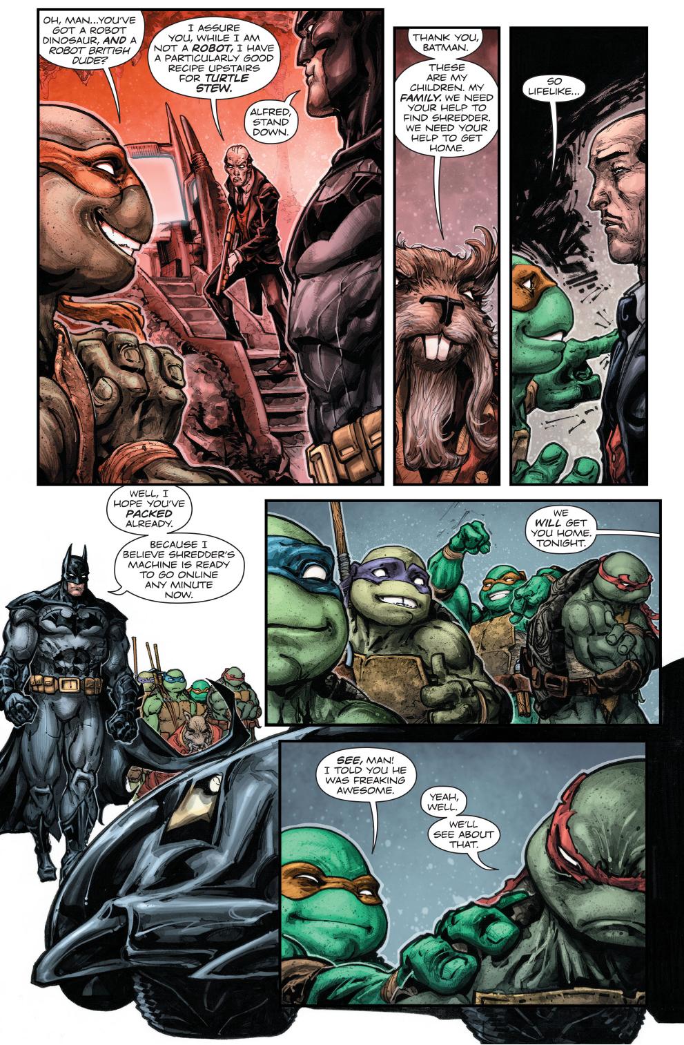 teenage mutant ninja turtles in the batcave