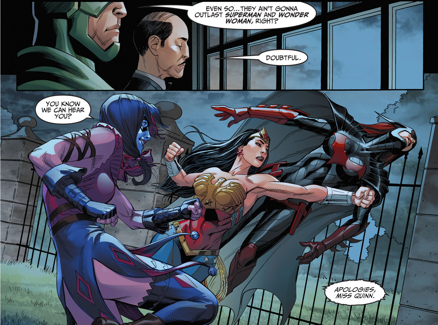 wonder woman punches harley quinn