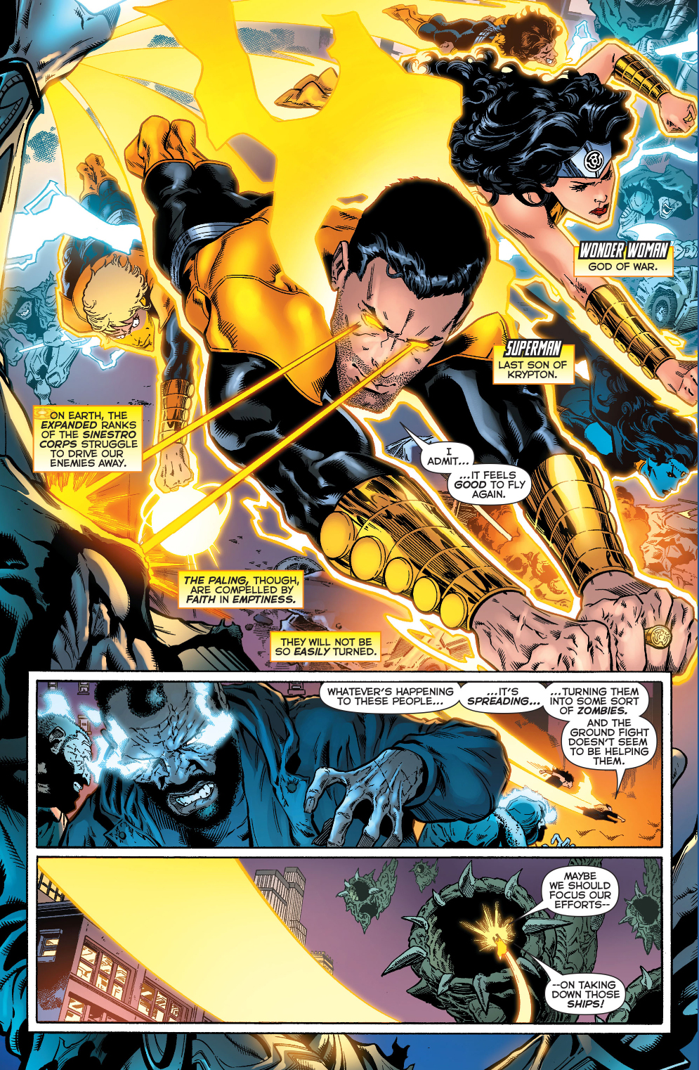 yellow lantern superman and wonder woman
