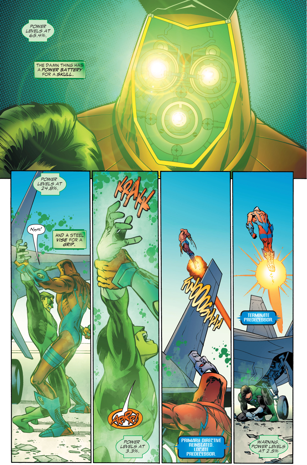 green lantern discovers the secret weapon of a manhunter