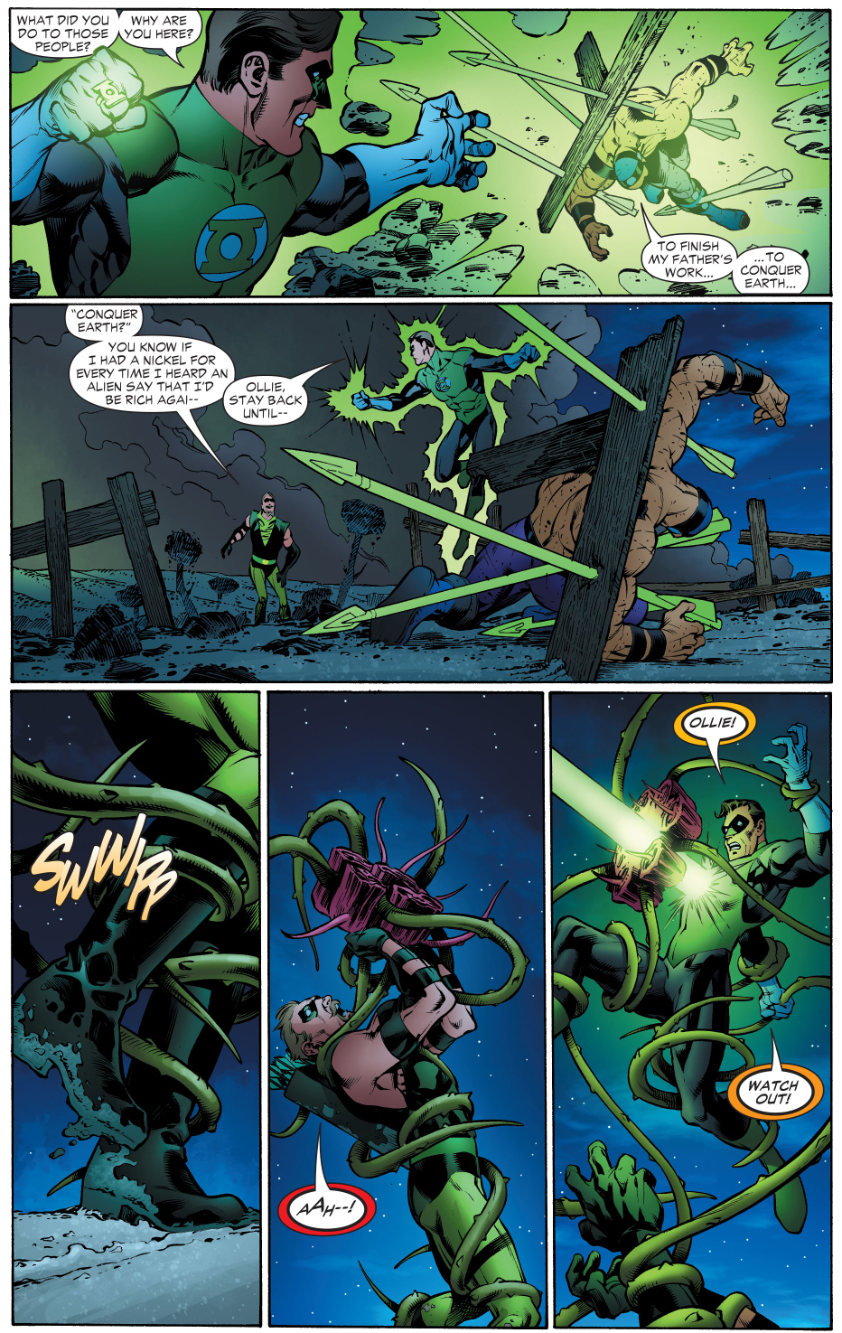 mongul traps green arrow and green lantern to the black mercy
