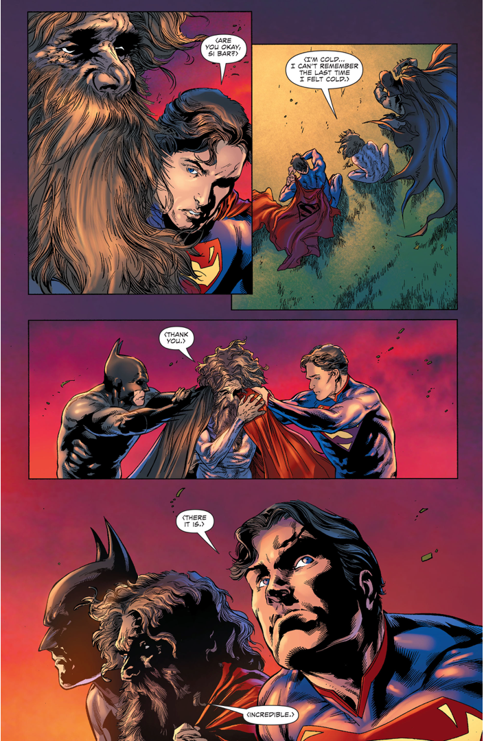 Superman And Batman Sits With A Dying Daxamite