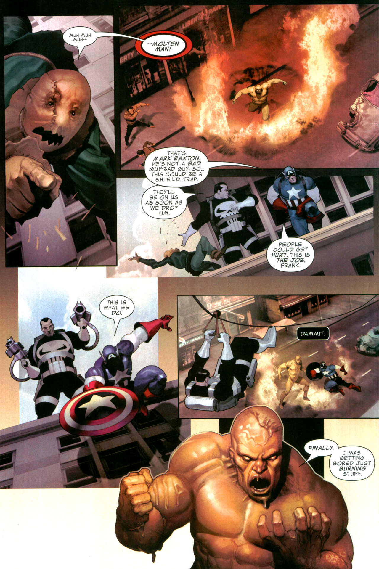captain america and the punisher vs the molten man