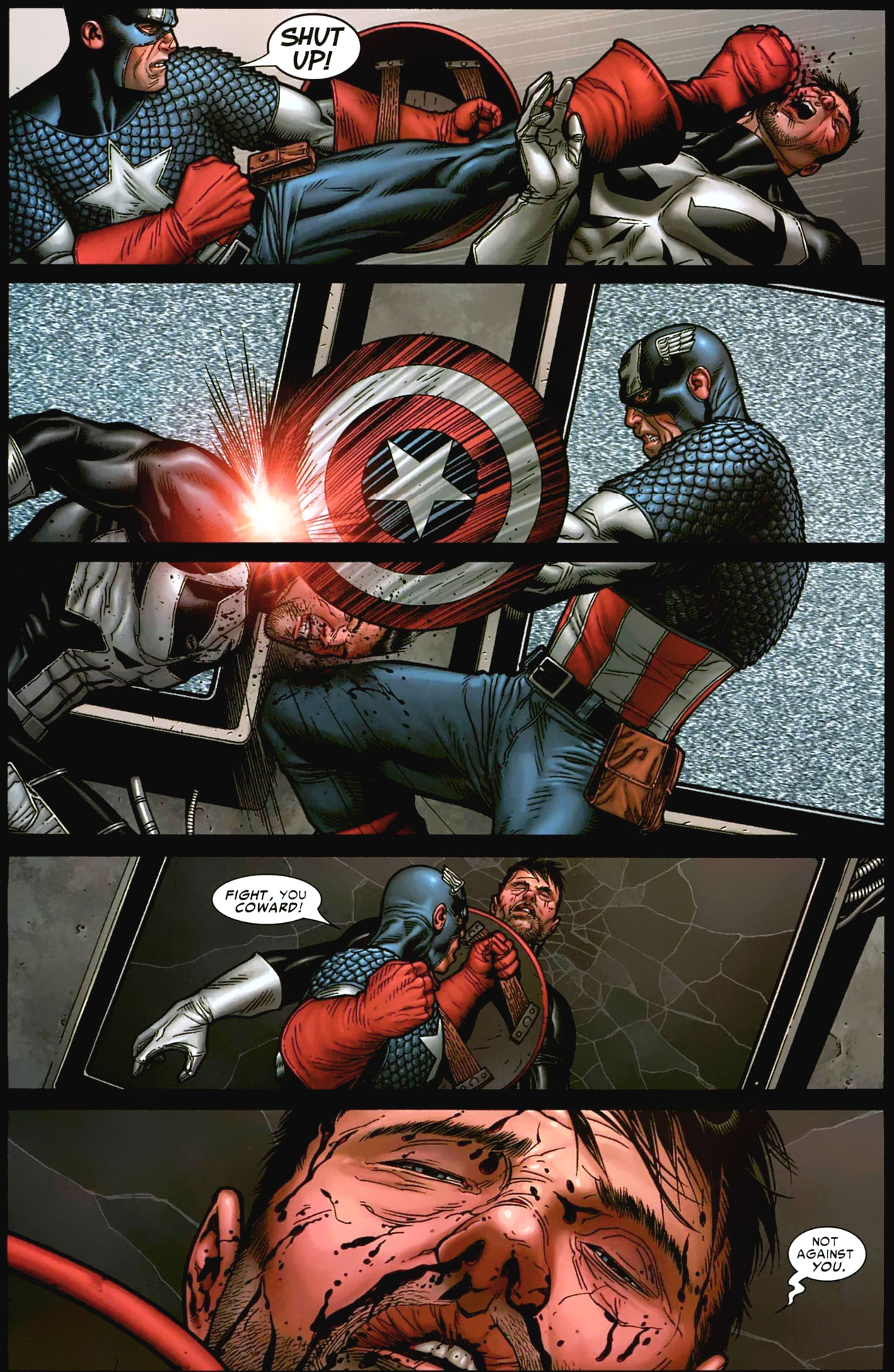 captain america kicks the punisher out of his team (civil war)