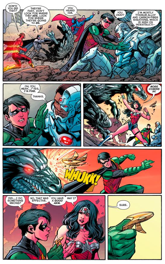 Robin (Dick Grayson) Impresses Wonder Woman (New 52)