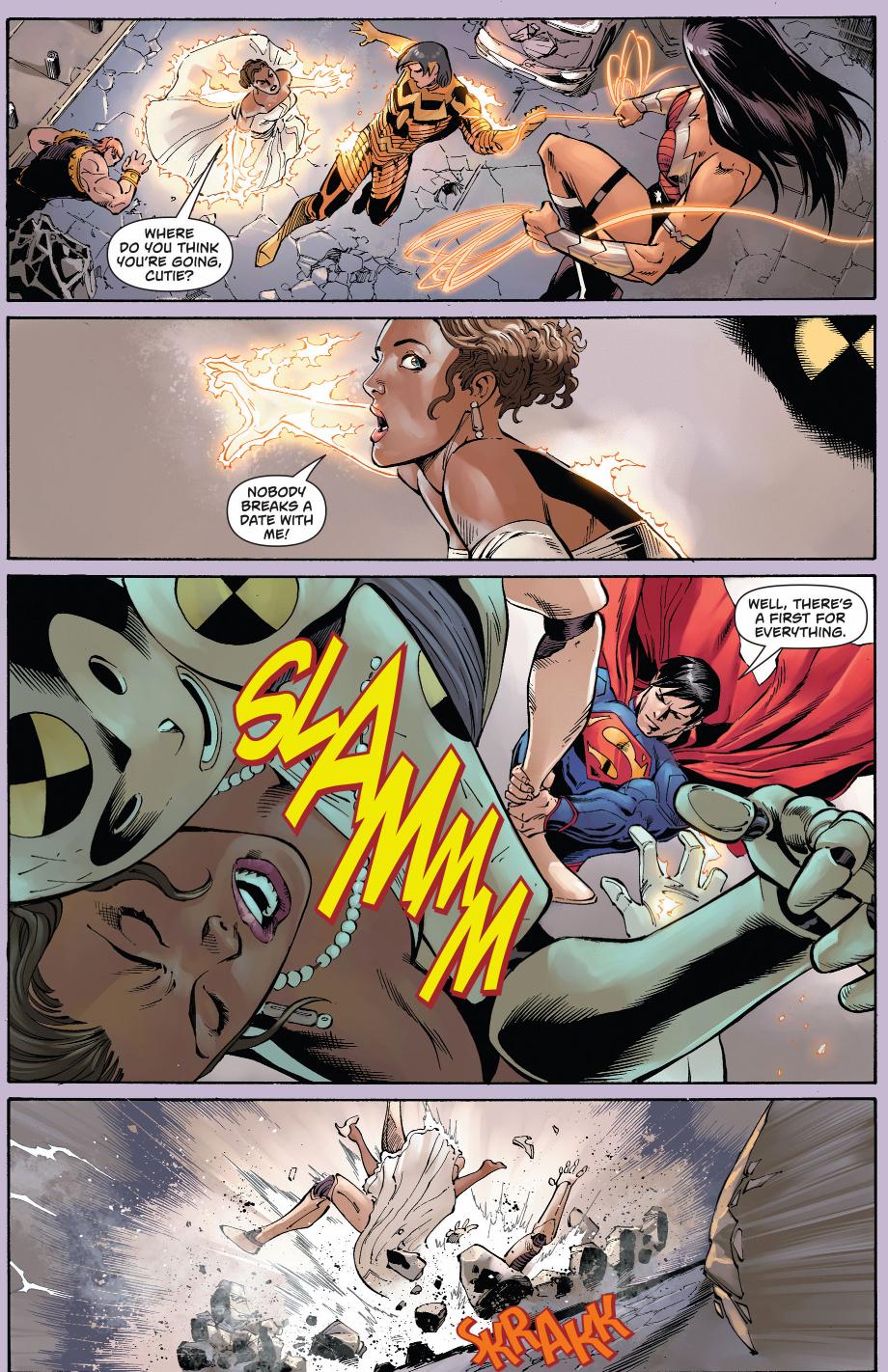 superman, wonder woman and wonderstar vs crash, debutante and mammoth
