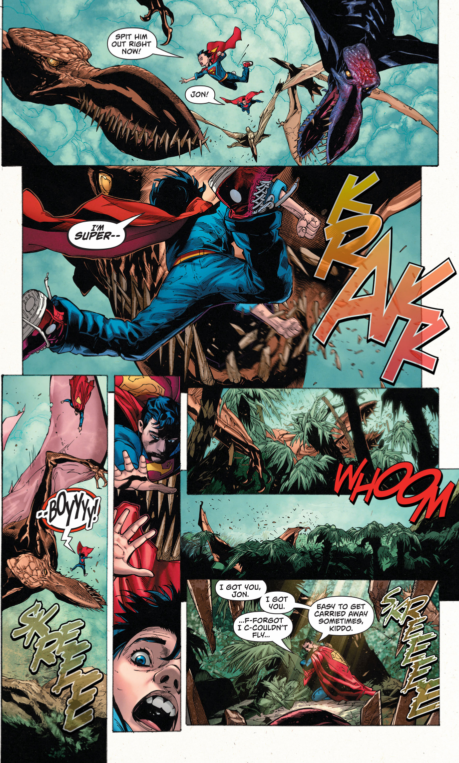 Superman And Superboy VS Pterodactyls