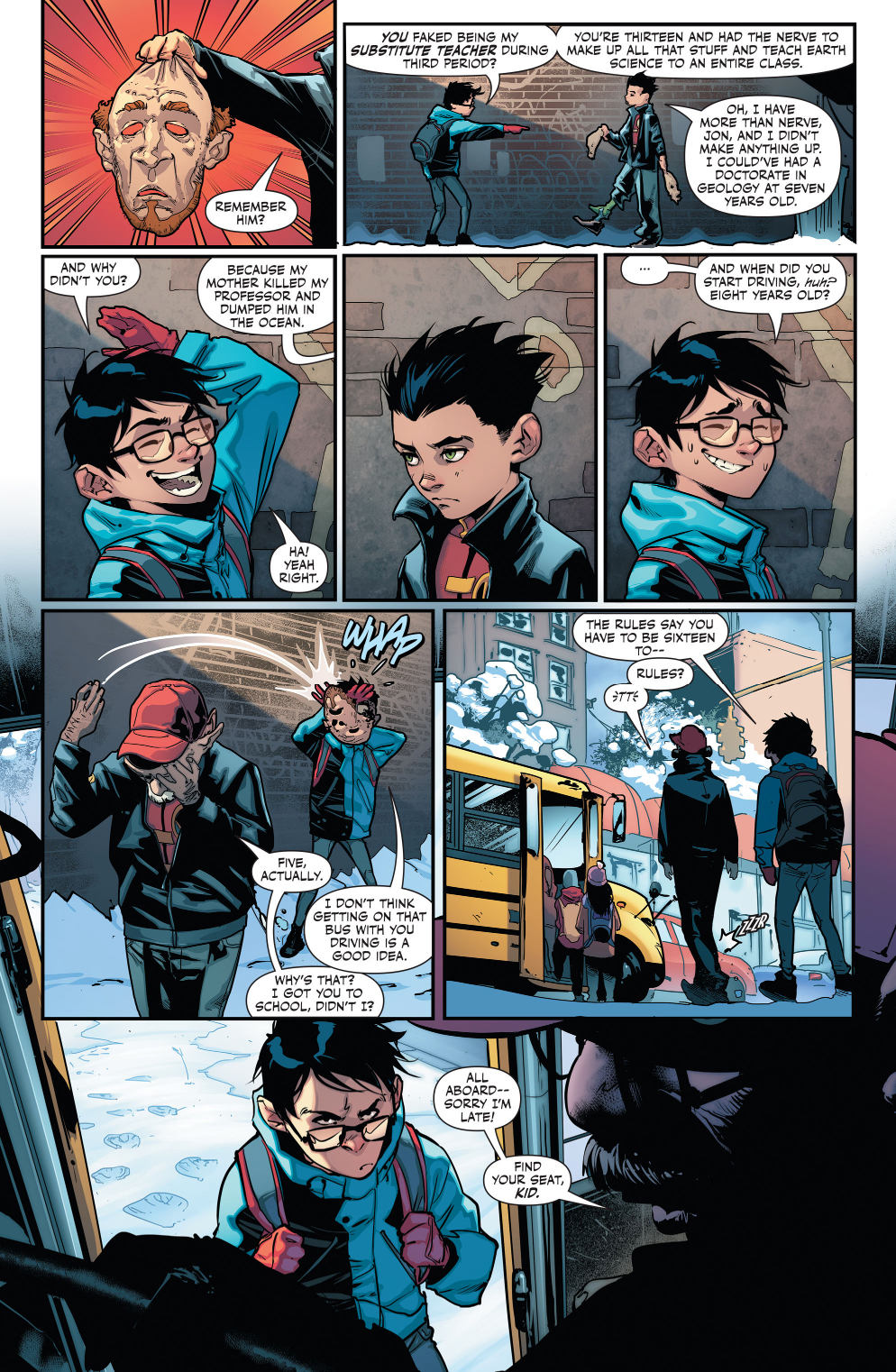 superboy-and-robin-in-a-snow-ball-fight