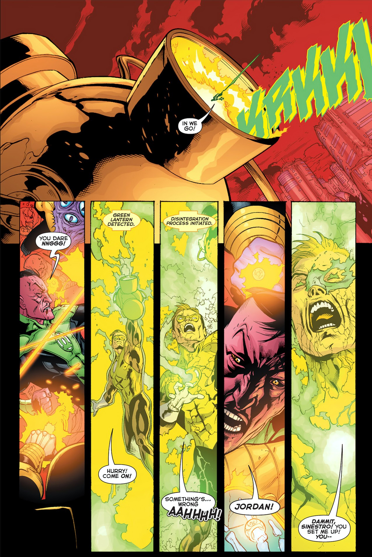 The Sinestro Corps Central Battery Disintegrates Hal Jordan