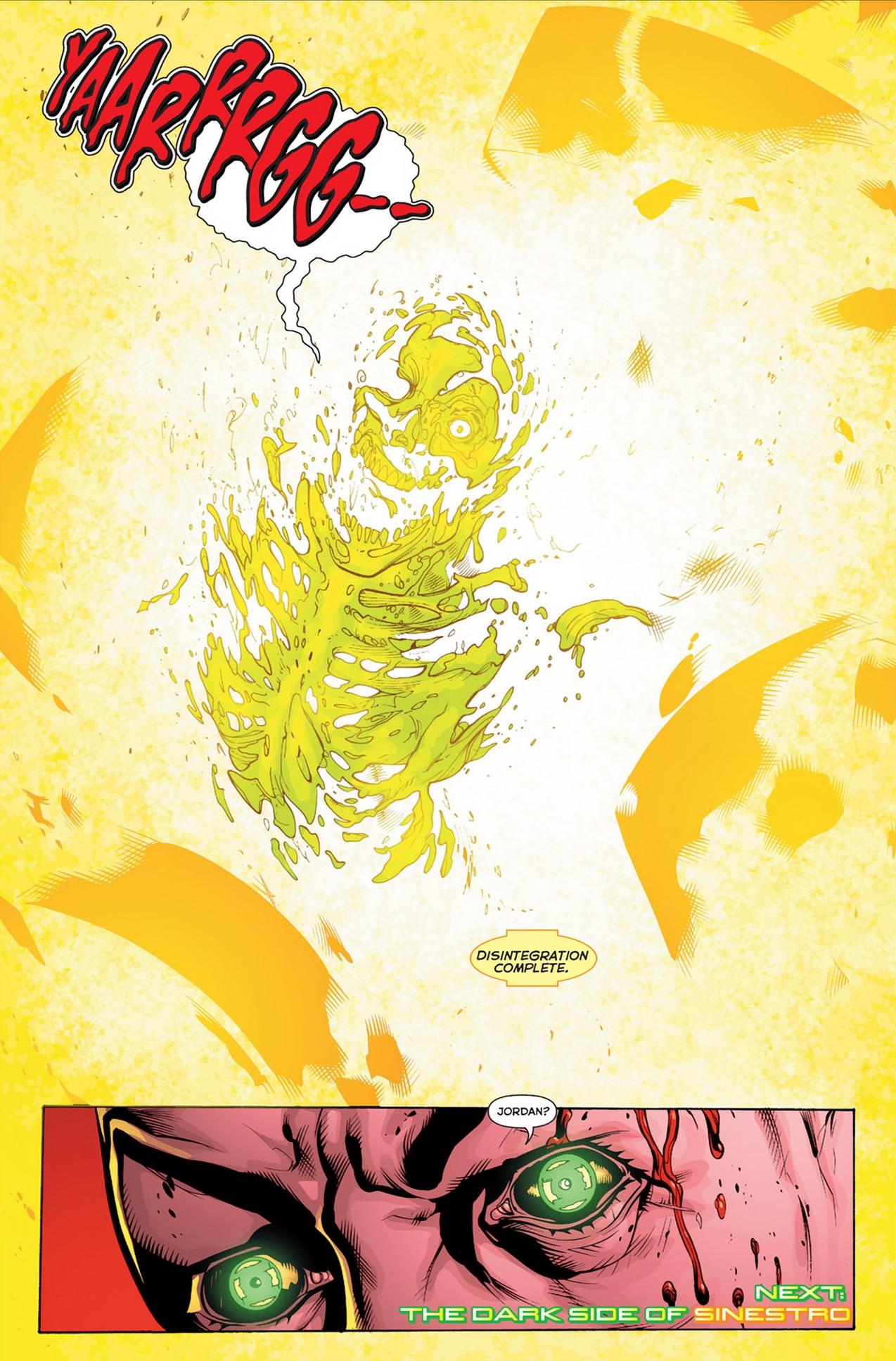 The Sinestro Corps Central Battery Disintegrates Hal Jordan