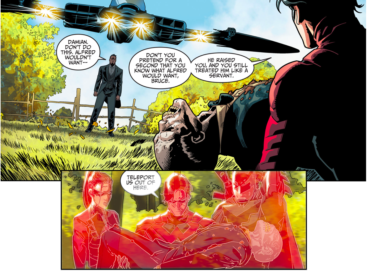 Damian Wayne Uses A Lazarus Pit On Alfred Pennyworth (Injustice II)