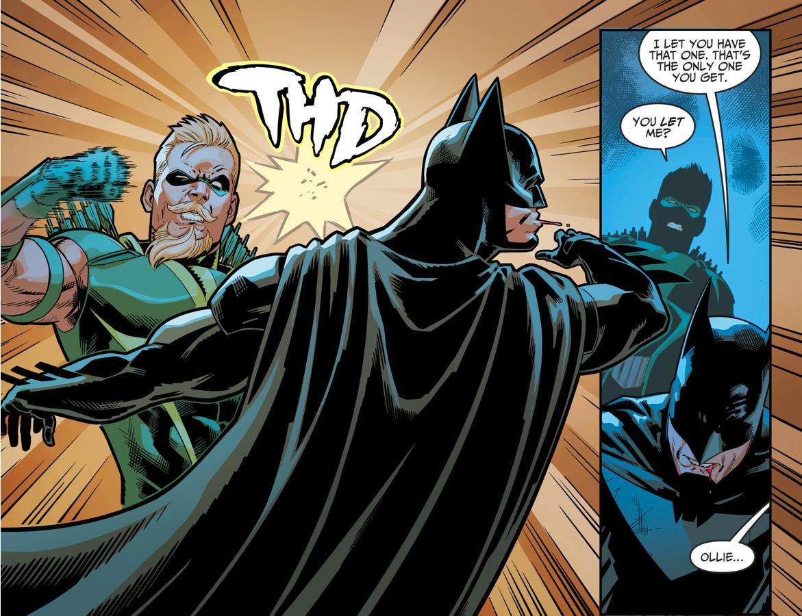 Green Arrow Punches Batman (Injustice II)