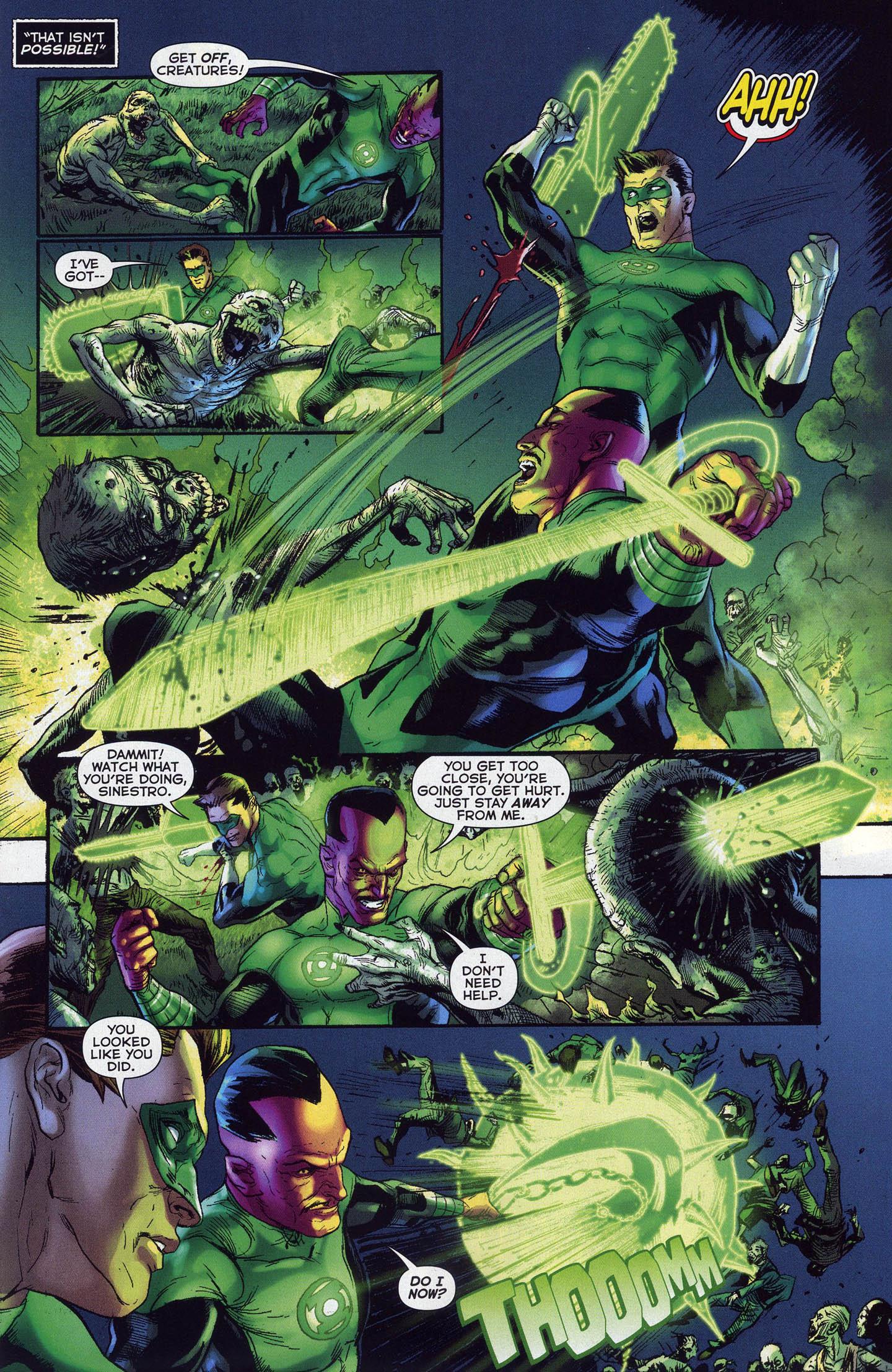 Hal Jordan And Sinestro VS Black Lantern Zombies