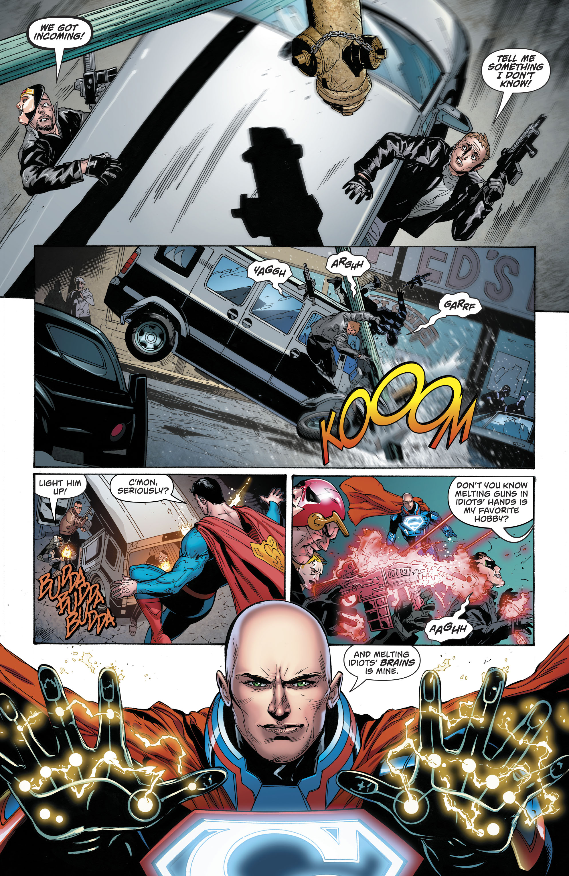 Superman And Lex Luthor Stopping a Robbery (Rebirth)