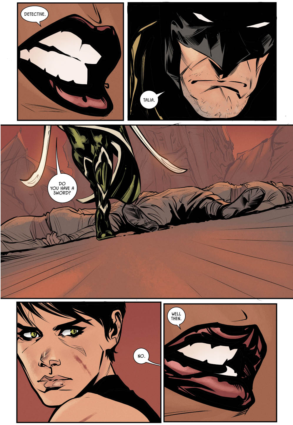 Talia al Ghul Stabs Batman With A Sword (Rebirth)