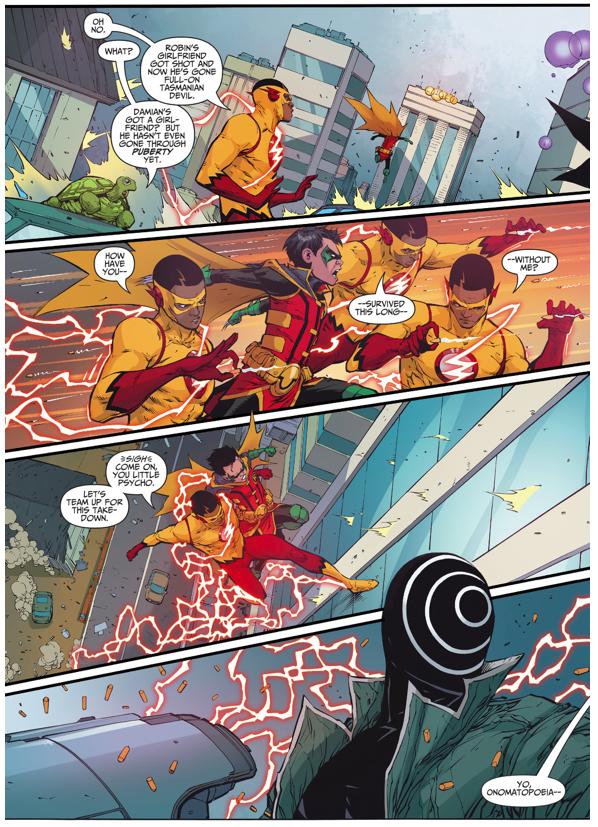 Robin And Kid Flash VS Onomatopoeia (Rebirth)