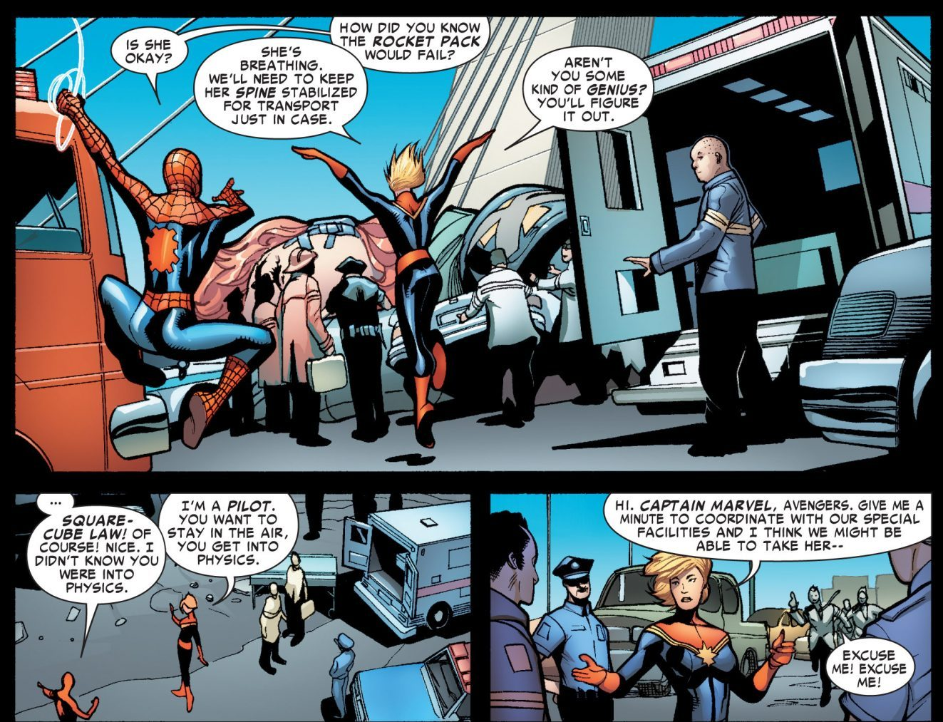 Captain Marvel Using Physics In A Fight
