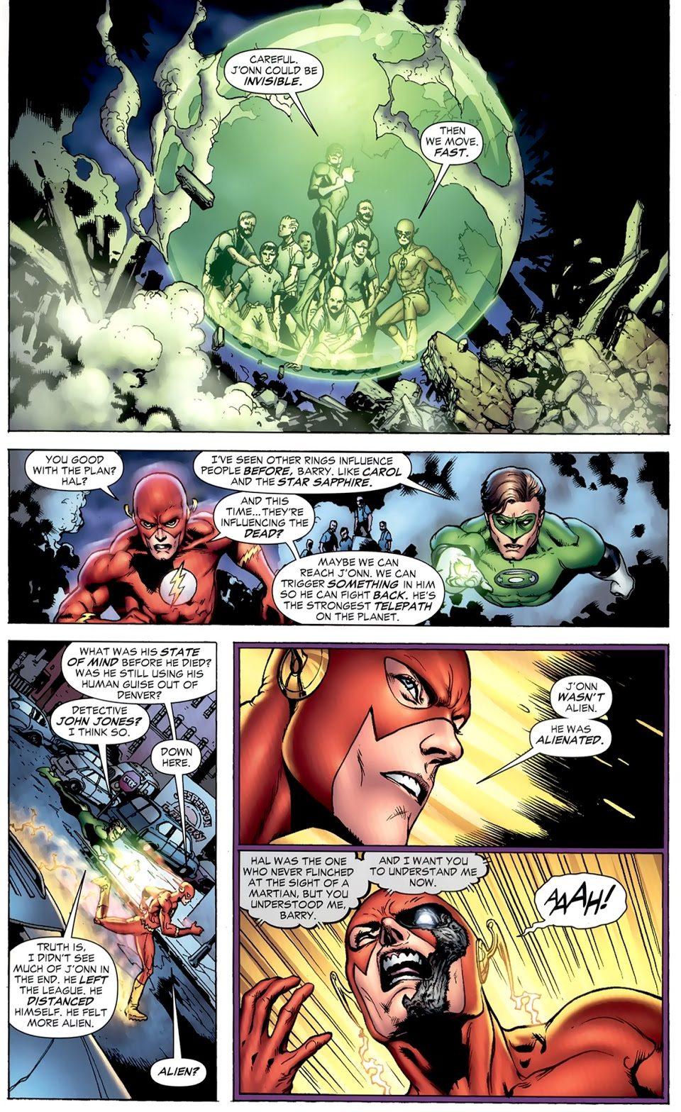 Green Lantern And The Flash VS Black Lantern Martian Manhunter