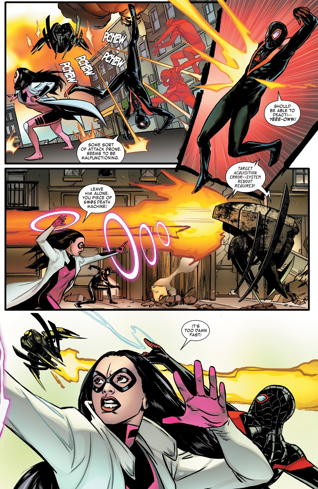 Spider-Man Miles Morales And Bombshell VS Giant Drone