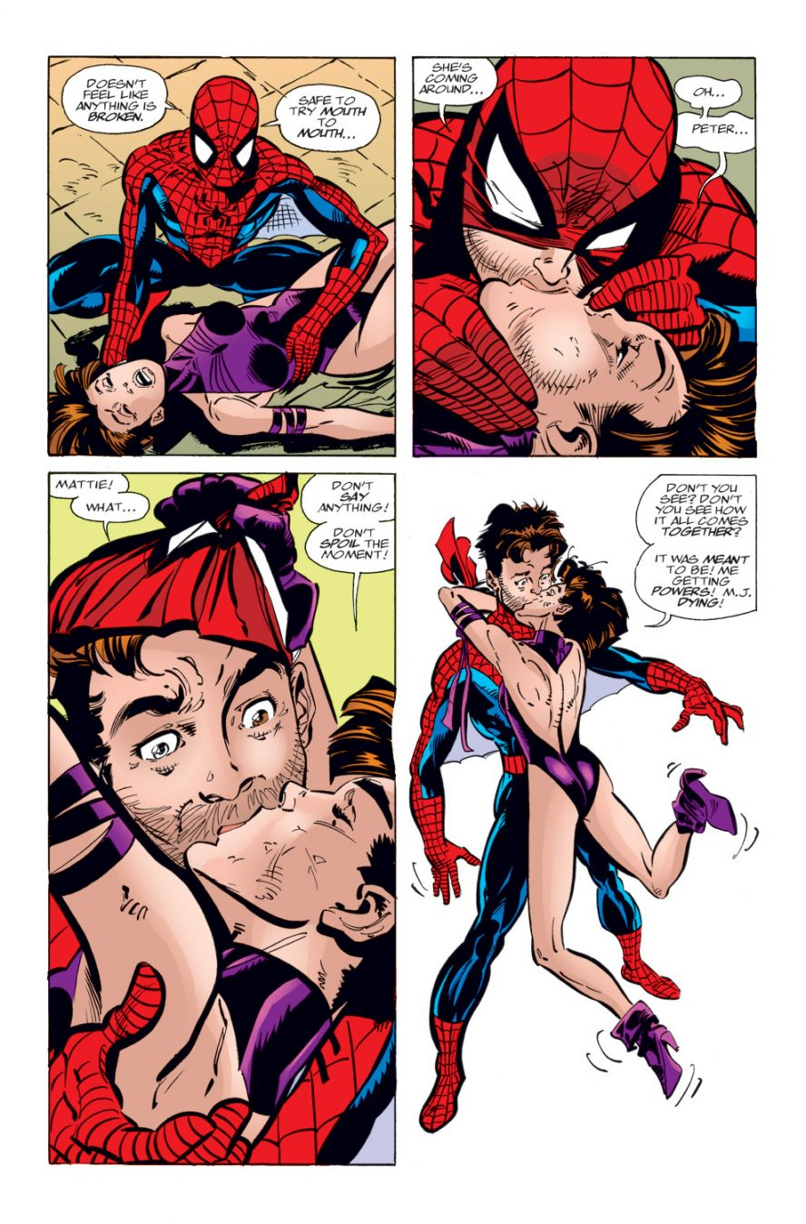 Spider-Woman Kisses Spider-Man