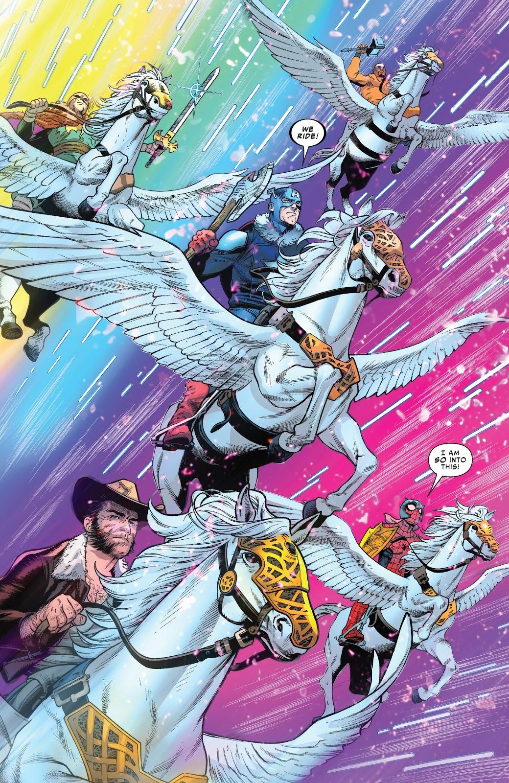 The Avengers Riding Pegasus