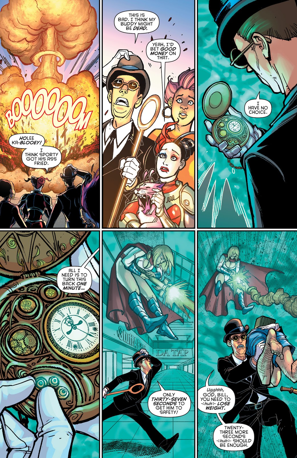 Harley Quinn And Power Girl VS Clock King And Sportsmaster